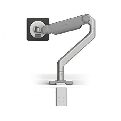 M2.1 MONITOR ARM WITH TWO-PIECE CLAMP MOUNT BASE, POLISHED ALUMINUM WITH WHITE TRIM