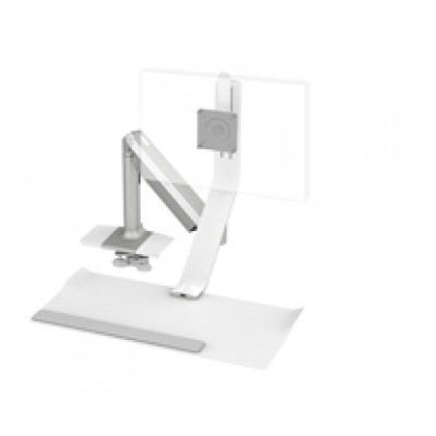 QuickStand Lite, silver with white trim, light single monitor, clamp mount